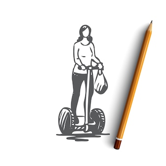 Hand drawn woman on segway