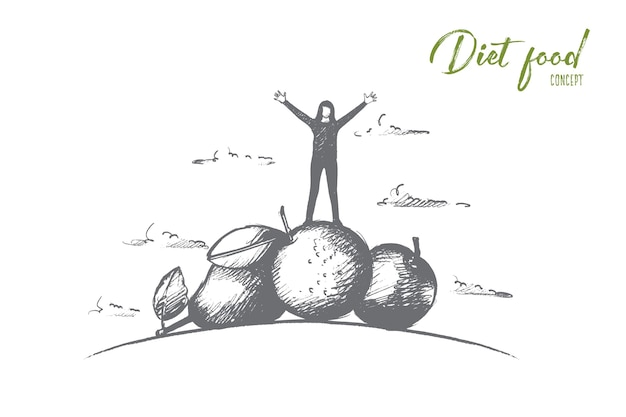 Hand drawn woman standing on pile of fruits and vegetables