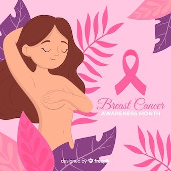 Hand drawn woman supporting breast cancer awareness with ribbon