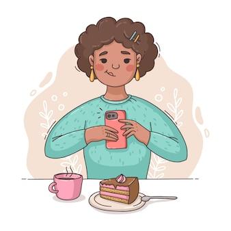 스마트 폰으로 사진을 찍고 손으로 그린 된 여자