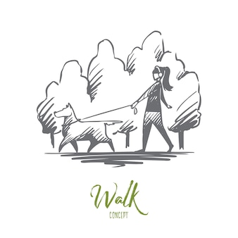 Hand drawn woman walking with her dog on a leash in city park concept sketch