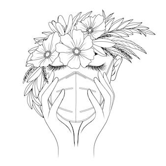 手描きの女性はマスクと花を着用