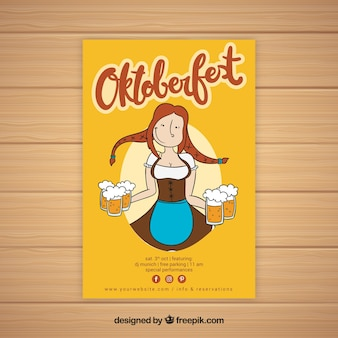 Hand drawn woman with beers