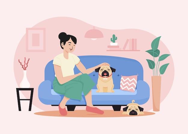 귀여운 강아지와 함께 손으로 그린 된 여자