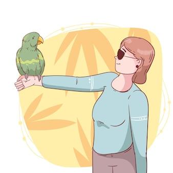 앵무새와 함께 손으로 그린 된 여자