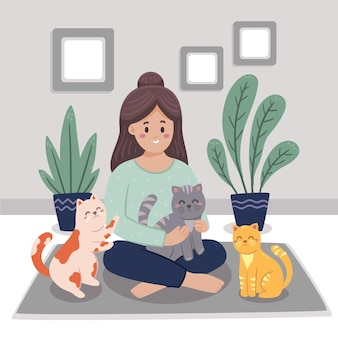Рука нарисованные женщина с домашними животными