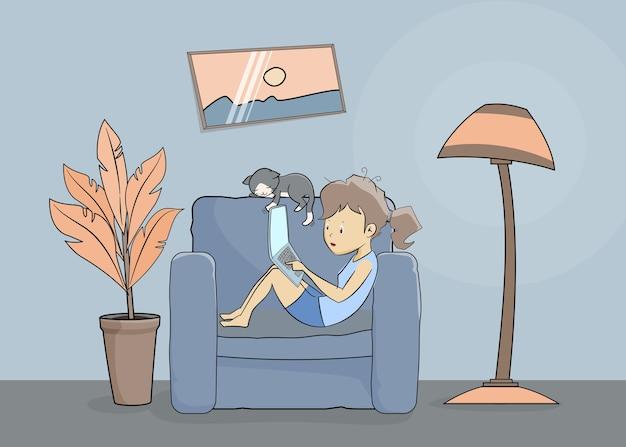 手描きの女性が在宅勤務