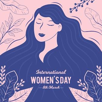 Hand drawn women's day background