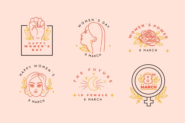 Hand drawn women's day badge collection
