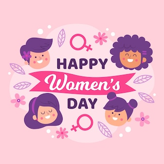Hand drawn women's day illustration with lettering