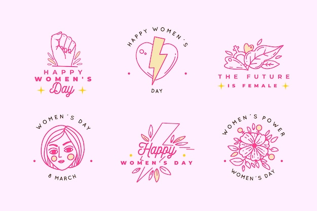 Hand drawn women's day label/badge collection
