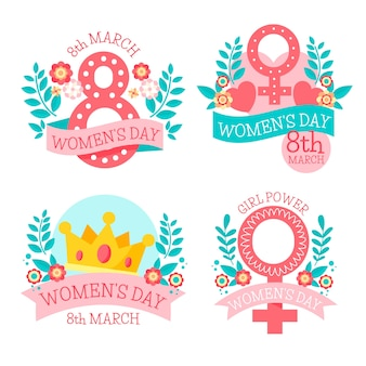 Hand drawn women's day label collection
