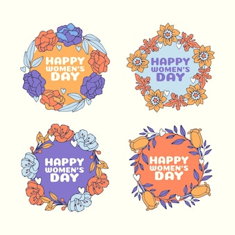 Hand drawn women's day labels pack