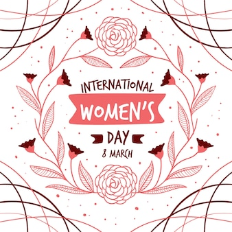 Hand drawn women's day with blossom and leaves