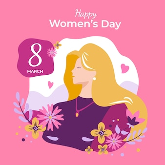 Hand drawn women's day with date