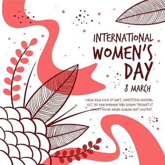 Hand drawn women's day with leaves