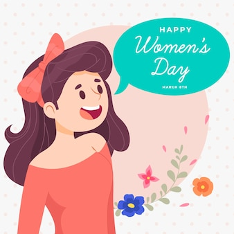 Hand drawn women's day with speech bubble