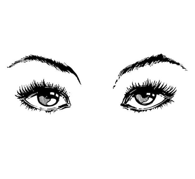 손으로 그린 여성의 눈 빈티지. 아름 다운 여자의 눈입니다. 벡터 일러스트 레이 션 패션 디자인
