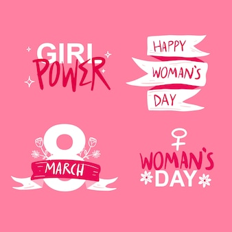 Hand drawn womens day badge collection