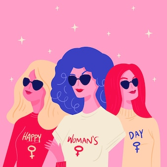 Hand drawn womens day concept