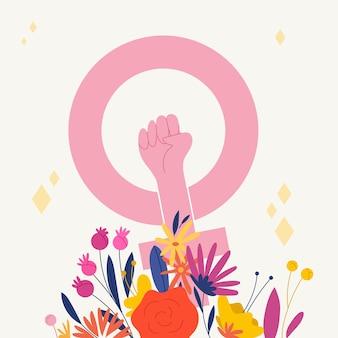 手描きの女性の日のコンセプト