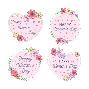 Hand-drawn womens day label collection concept