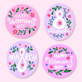Hand-drawn womens day label collection theme