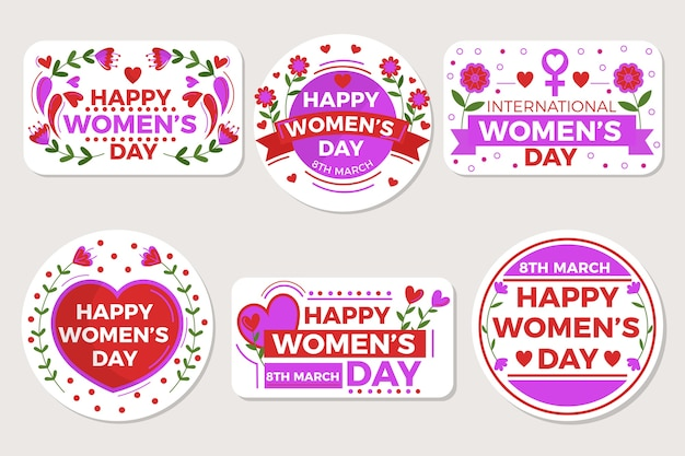 Hand-drawn womens day labels