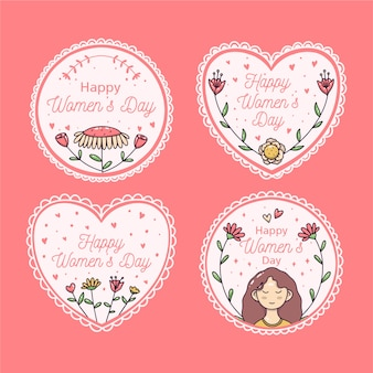 Hand-drawn womens day lbadge collection