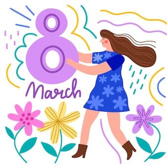 Hand-drawn womens day theme