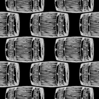 Hand drawn wood barrel seamless pattern on blackboard. barrel wallpaper. engraving vintage style backdrop. design for wrapping paper, textile print. vector illustration