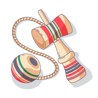 Hand drawn wooden kendama game