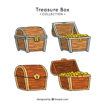Hand drawn wooden treasure chest collection
