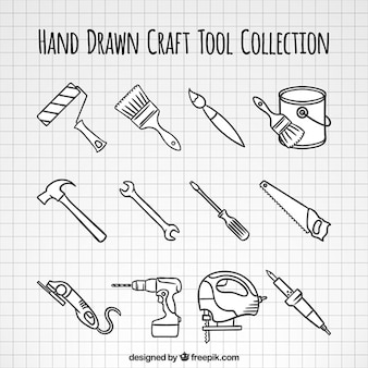 Hand-drawn woodworking tools collection