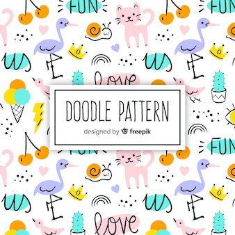Hand drawn words and animals pattern