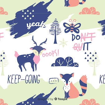 Hand drawn words and forest animals pattern