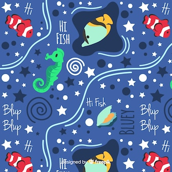 Hand drawn words and sea animals pattern