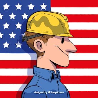 Operaio disegnato a mano e bandiera americana