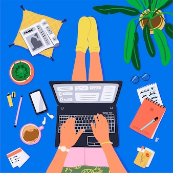 Hand drawn workplace at home top view. person sit with laptop, office objects and stationery, home plans and coffee.