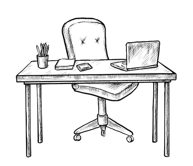 Hand drawn workplace. sketch table desk with chair, computer laptop, notebook and stationary on white.  empty workplace home office room interior . workstation furniture illustration