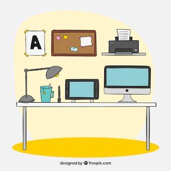 Ручное рабочее пространство с фронтальным видом