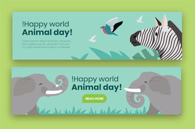 Set di banner per la giornata mondiale degli animali disegnati a mano