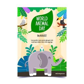 손으로 그린 세계 동물의 날 세로 전단지 템플릿