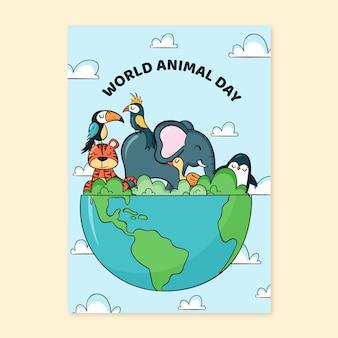 Modello di volantino verticale della giornata mondiale degli animali disegnato a mano