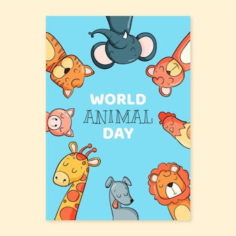 Hand drawn world animal day vertical flyer template