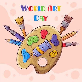 Hand drawn world art day illustration