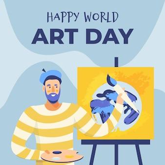 Нарисованная рукой иллюстрация всемирного дня искусства