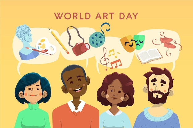 Hand drawn world art day illustration