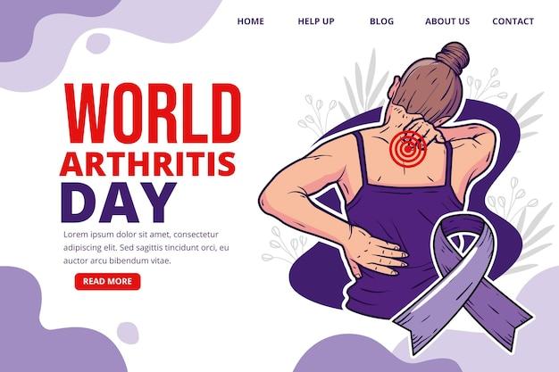 Hand drawn world arthritis day landing page template