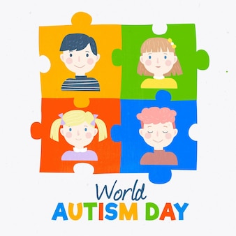 パズルのピースと手描きの世界自閉症啓発デーのイラスト